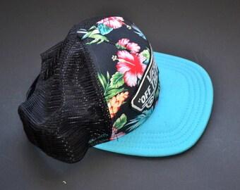 "Vintage Vans ""off the wall"" hibiscus trucker Hat Cap snap back Hat cap golf hat Unisex vintage tropical iseland vacation cap  Skateboard"