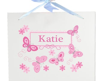 Personalized Nursery Wall Sign with Pink Butterflies Design-walha-blu-300a