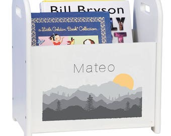 Personalized Book Caddy and Storage with Misty Mountain Design-cadd-whi-245