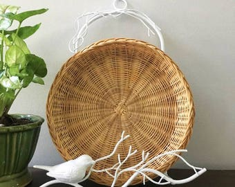 Vintage Wicker Paper Plate Holders with White Bird Rack