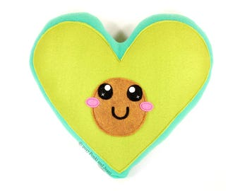 Avocado Plushie, Avo Plush Toy, Avocado Love, Heart Shaped Avocado, Avocado Heart plush pillow, Avocado Cushion, Cute Kawaii Avocado Decor