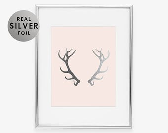 ANTLERS Silver Foil Print Glam Rustic Desk Reindeer Art Poster Deer Nature Office Decor Woodland Animal Poster  Moose Pink Decor B13