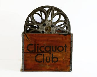vintage Clicquot Club wood advertising crate box with Goldberg Bros movie film reels 1930s 1940s