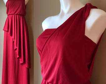 Vintage Joy Stevens Strapless Red 1970s Disco Grecian toga Maxi Dress