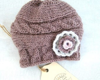 READY TO SHIP Baby Girl Hat With Flower - Hand Knitted Baby Hat