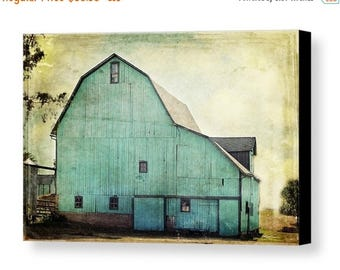 Christmas in July Aqua Barn Gallery Wrapped Canvas Fine Art Photography Mint Green Turquoise Teal Country Rustic Livingroom Farmhouse Farm H