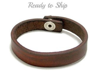 Brown Leather Bracelet, Half Inch Leather Bracelet, Leather Cuff Bracelet, Boyfriend Gift, Men's Leather Bracelet, Ready to Ship