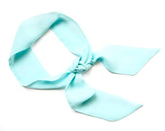 Skinny Scarf, Twilly Scarf, Sea Foam Green Scarf, Purse Scarf, Hat Band, Neck Bow, Hair Wrap, Gift for Women, Scarf Headband, Ready To Ship