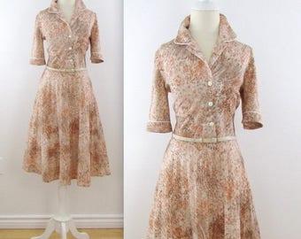 SALE Fauna Shirt Dress - Vintage 1960s Full Skirt Shirtwaist Dress in Small