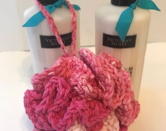 Handmade Shades of Pink and White Crochet Bath Pouf gify ideas under 10 gift basket idea made with 100% cotton yarn