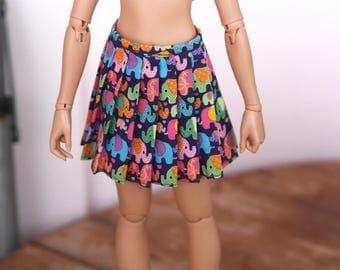 MSD elephant printed pleated skirt