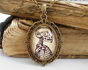 Anatomical Skeleton Necklace in Bronze - Antique Anatomy Print Pendant