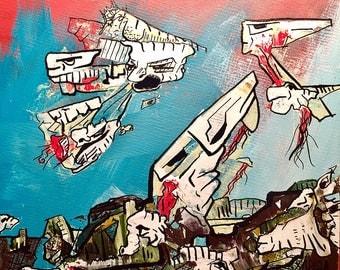 "5""x 5"" Pareidolia painting on Canvas Panel Board 1"