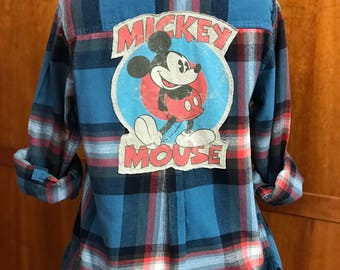 Upcycled Flannel Shirt ... Mickey Mouse ... Disney