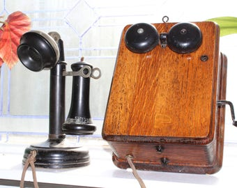 Antique Candlestick Telephone With Oak Wall Box Cracraft Leich