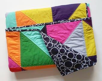 Lap Quilt, Half Square Triangle Quilt, Modern Quilt, Bakeapple Designs, Cotton Quilt, Handmade