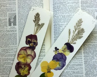 PRESSED FLOWER BOOKMARKS -  Set of 2 Real Natural Maine Flowers Bookmarks, One of a Kind Garden Art Collage, Gardener, Nature Lover Gift