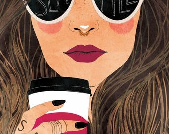 Brunette Seattle - Vertical Print, woman, coffee, hipster, cool