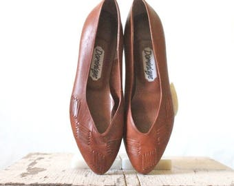 SALE Vintage 80's Woven Toffee Leather Heels Sz 7.5