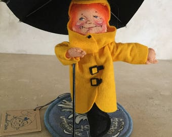Annalee Yellow Raincoat Kid Doll with Umbrella / Annalee Doll Society