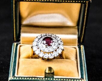 Large Vintage Diamond and garnet Engagement Ring 14K