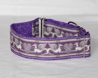 "2"" Martingale Dog Collar Greyhound Angels & Hearts - Purple"
