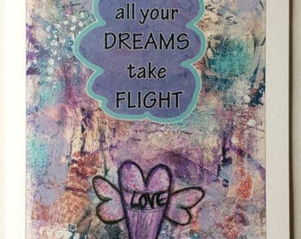 May All Your Dreams Take Flight -A5 Blank Card From Mixed Media Original Collage