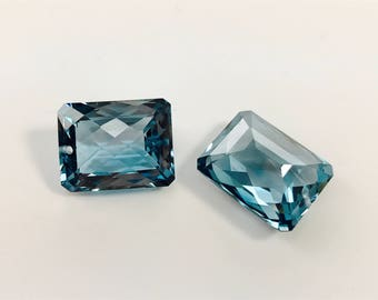 FINAL SALE london blue topaz one pairs, drilled size 15x20 mm