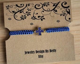 Cross Bracelet Faith Bracelet Inspirational Blue Macrame Bracelet Friendship Bracelets Religious Bracelets Bridesmaid Jewelry Accessories