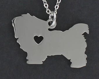 Maltese Silhouette Necklace - Tiny Heart Cutout Large Stainless Charm on a FREE Plated Chain