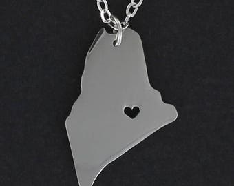 MAINE State with Open Heart Necklace - Stainless Steel Charm on a FREE Cable Chain