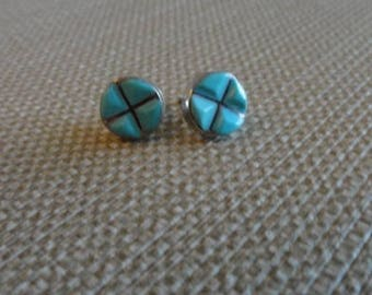 D015)  Vintage Silver and Turquoise Earrings