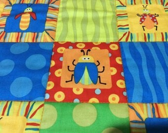 Beetle Baby Quilt, Primary Colors Baby Quilt, Bugs Baby Quilt, Small Child Nap Blanket, Orange Baby Quilt, Polka Dot Baby Quil