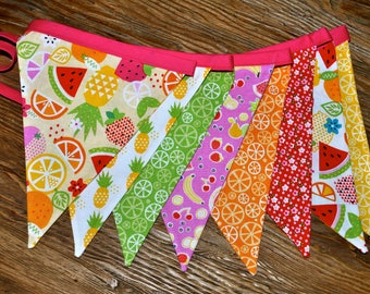 Two-tti Fruitti pennant banner, Tutti Fruity flag bunting, I am two 2 birthday party decoration watermelon lemon lime cake smash photo prop
