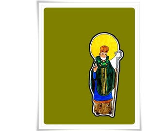 Saint St. Patrick Art Modern Contemporary Catholic Painting Holy Card Religious Meditation Decor Confirmation Gift