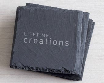 50 Custom Slate Coasters Engraved with Logo: Promotional Coasters, Giveaway Coasters, Customer Coaster Gift, Client Coaster, Unique Giveaway