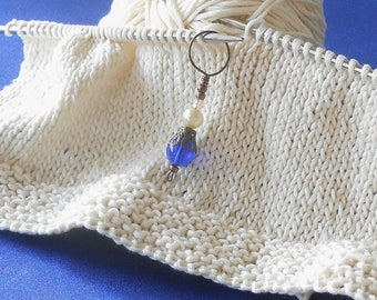 Blue Knitting Stitch Markers Set of 6 Knitting Markers Made with Cobalt Blue Czech Glass Beads - With Holder (CBSM-43015)