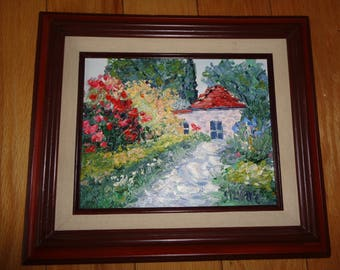 "Vintage Original Oil Painting titled ""Casa Rossa"" signed by The Artist Silvino with wonderful color palette and great textured design"
