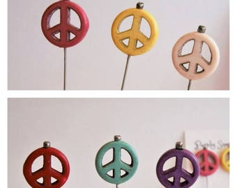 Colorful Peace Sign Pins, Decorative Sewing Pins, Peace Sign Scrapbook Pins,  Peace Sign Pincushion Pins Your Choice - Set of 3