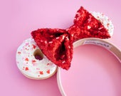 White Valentine Mouse Ears / Valentines Day Headband / Valentines Hair Accessory / Minnie Mouse Ears / Disney Ears / Disneyland / Red Pink