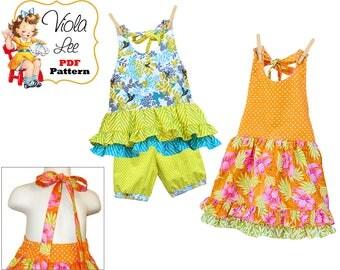 Summer Halter Dress Pattern & Shorts/Pants Pattern SET, Girls Shorts, Pants Pattern Toddler Dress Pattern. Summer Top Pattern, Ramona Mattie