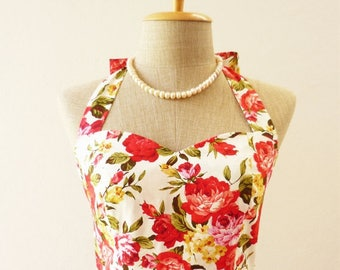 Mid Year SALE Red Floral Sundress