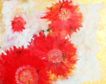 "Bold Abstract Floral Painting, Red Dahlias, Flowers, Original Art ""Glories Known"" 24x20"""