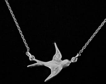 SALE Silver Sparrow Simple Charm Necklace