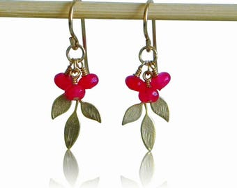 Gold Leaf Faceted Ruby Rondelle Earrings