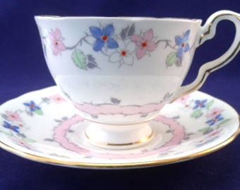 Delicate Royal Stafford Cup and Saucer, Floral, English Bone China