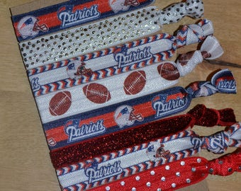 DELUXE New England Patriots Hair Ties Set of Eight