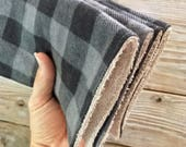 Wipes Unpaper Towels Reusable Paperless Flannel buffalo plaid gray black Set of 4