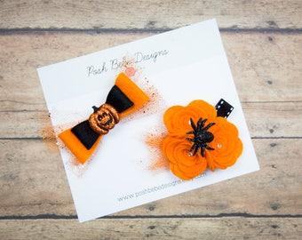 Halloween Felt Hair Clip Set - Felt Hair Bow - Baby Bows - Halloween Hair Bow - Baby Hair Bow - Clip Set - Felt Flower - Felt Bows