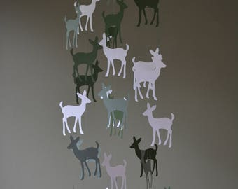 Bambi / Deer nursery mobile or baby mobile made from white, grey-green and forest green shades card stock -- Handmade mobile, baby gift